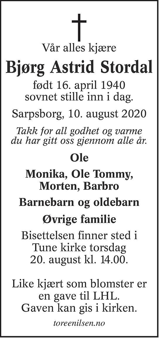 Bjørg Astrid Stordal Dødsannonse