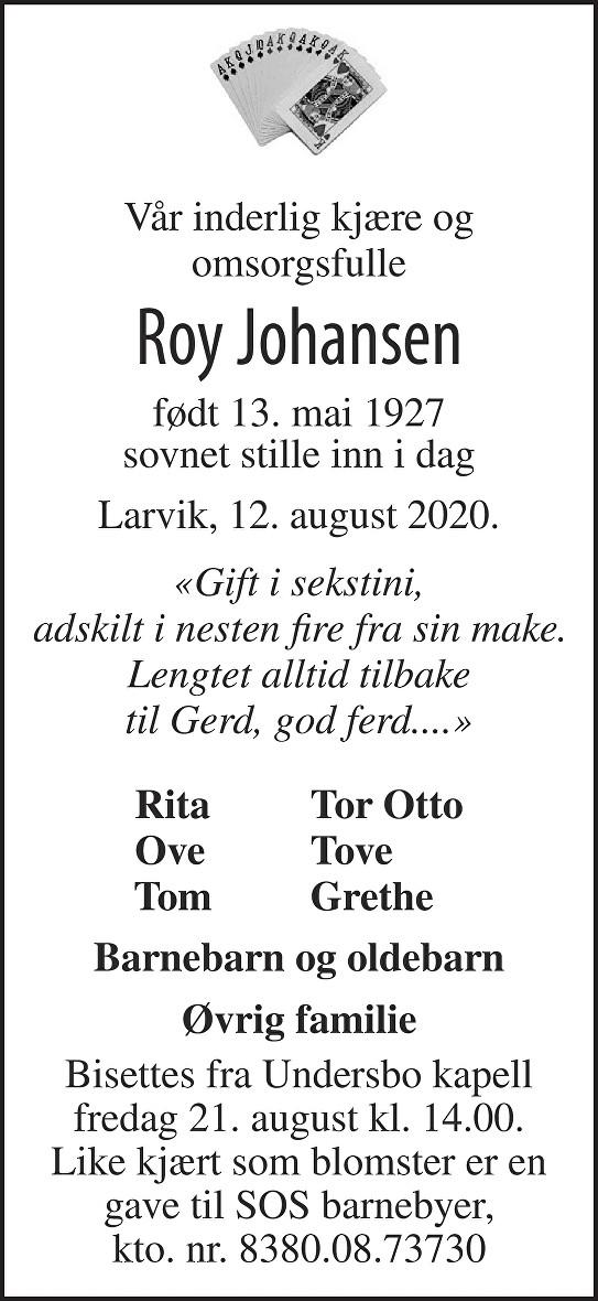 Roy Johansen Dødsannonse