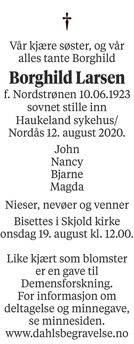 Borghild Larsen Dødsannonse