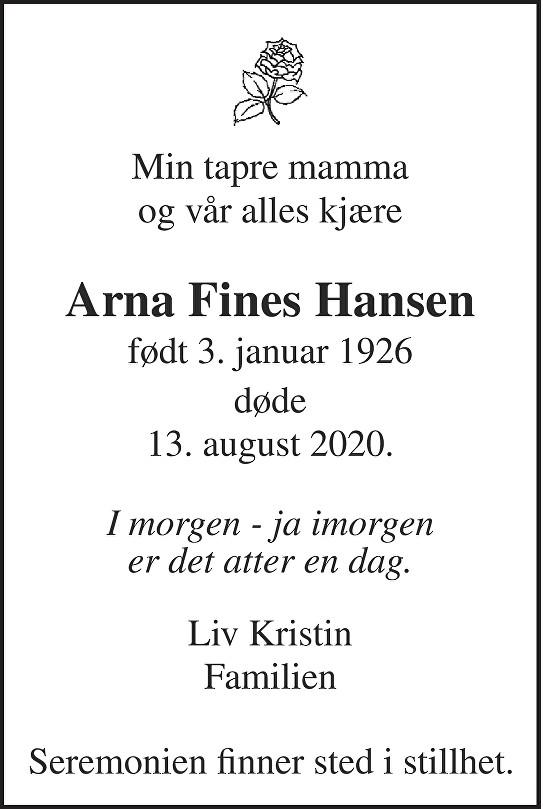 Arna Fines Hansen Dødsannonse