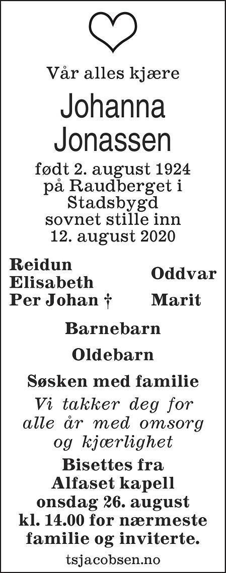 Johanna Jonassen Dødsannonse