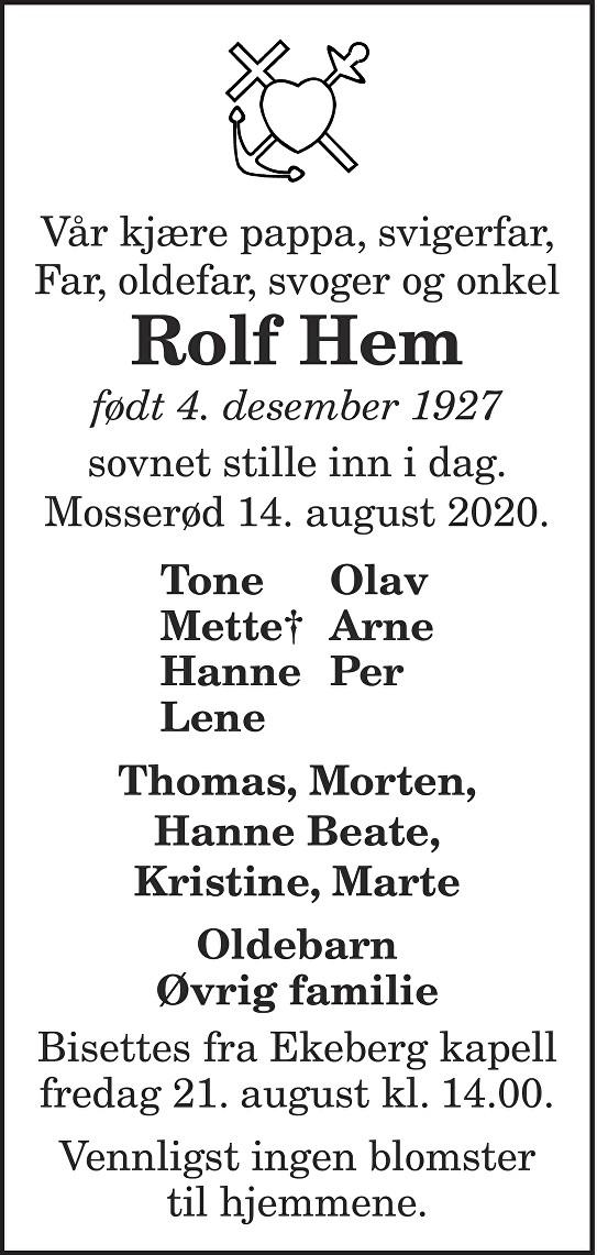 Rolf Hem Dødsannonse