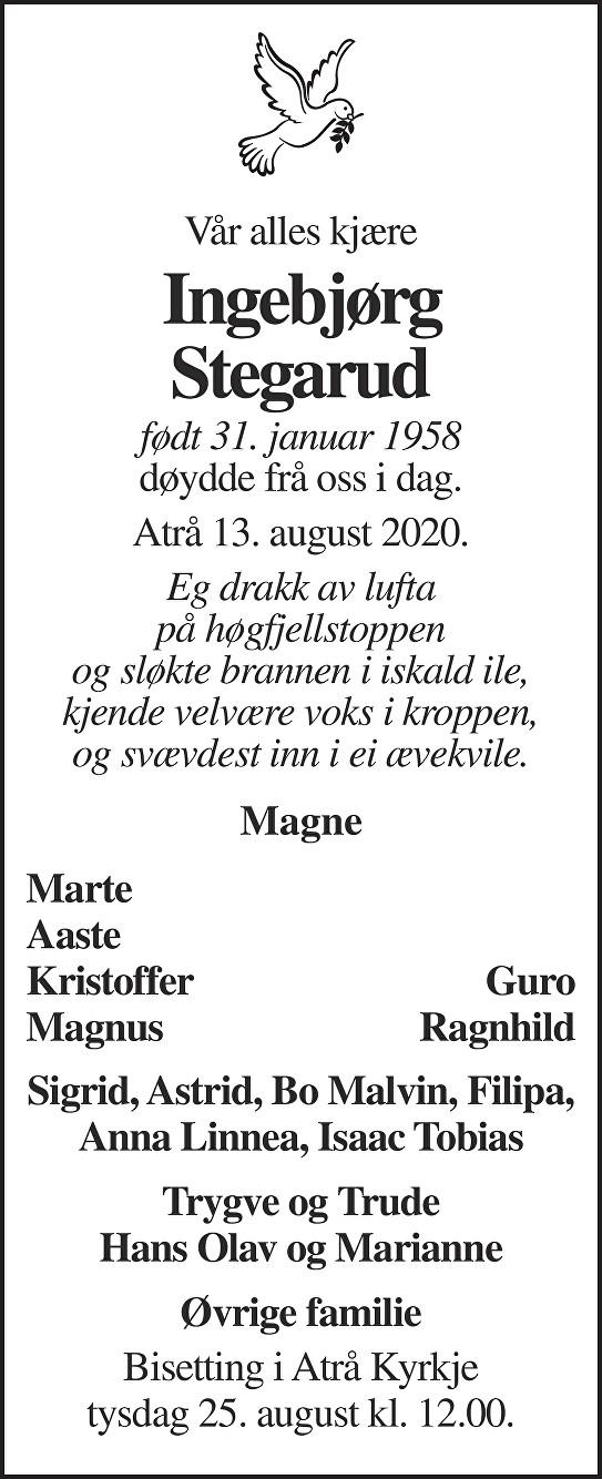 Ingebjørg Stegarud Dødsannonse