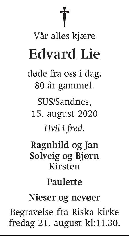 Edvard Lie Dødsannonse