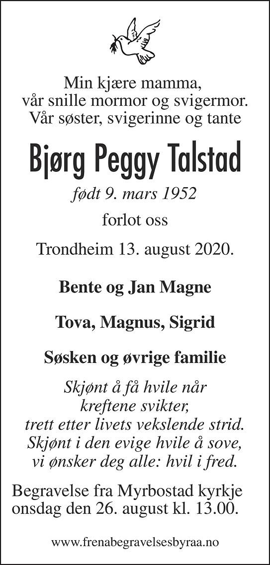 Bjørg Peggy Talstad Dødsannonse