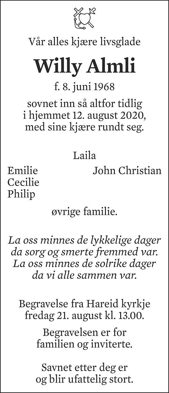 Willy Almli Dødsannonse
