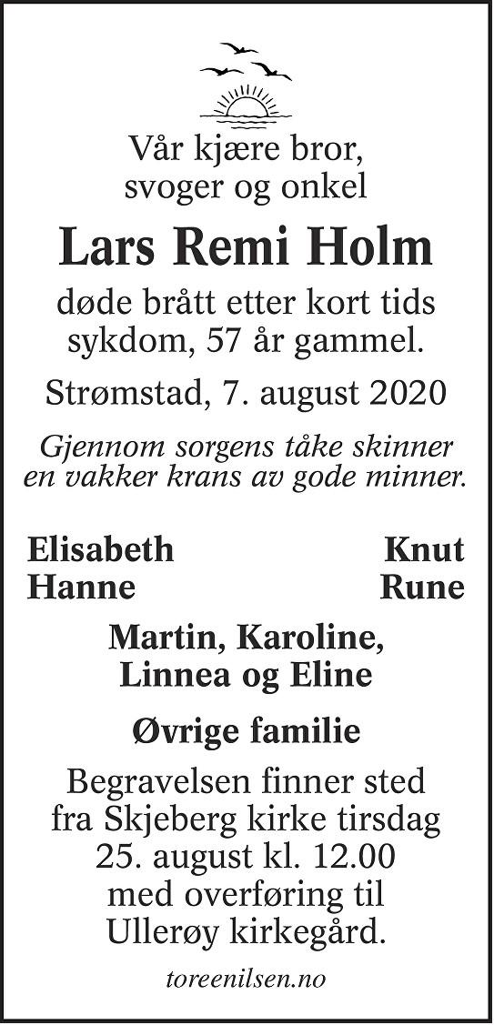Lars Remi Holm Dødsannonse