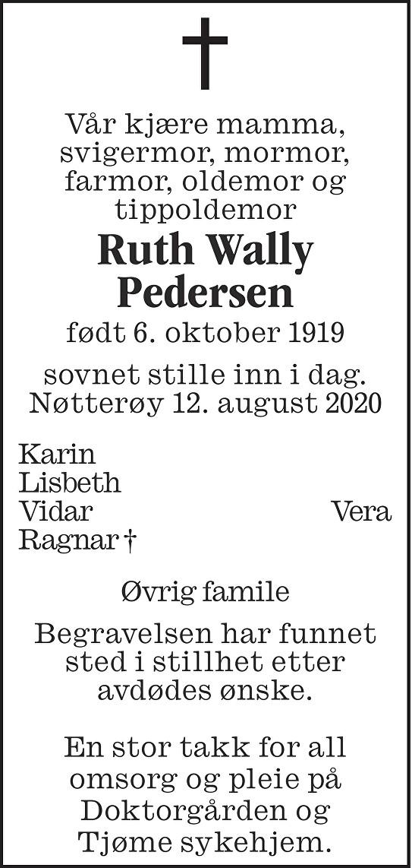Ruth Wally Pedersen Dødsannonse