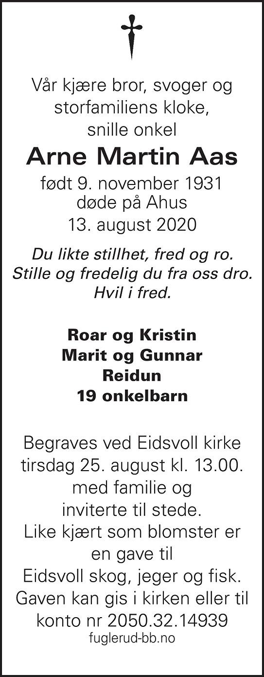 Arne Martin Aas Dødsannonse