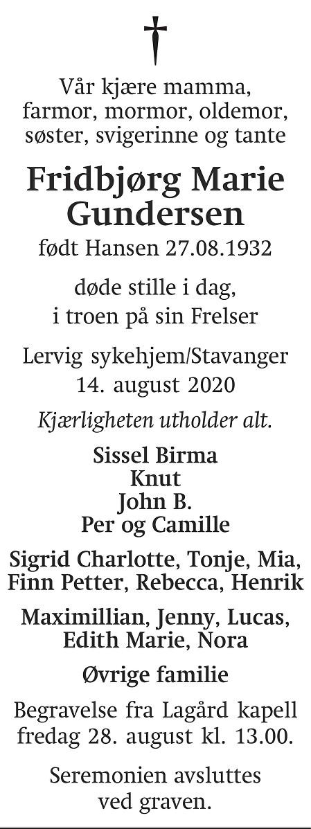 Fridbjørg Marie Gundersen Dødsannonse