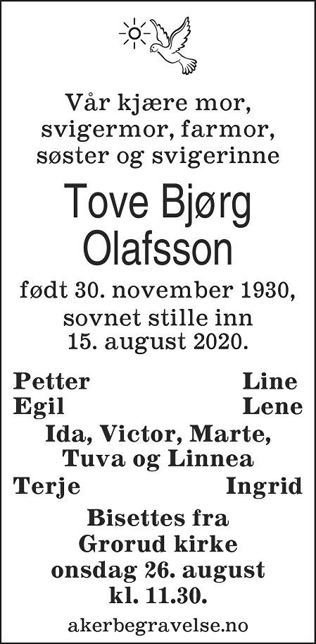 Bjørg Tove Olafsson Dødsannonse