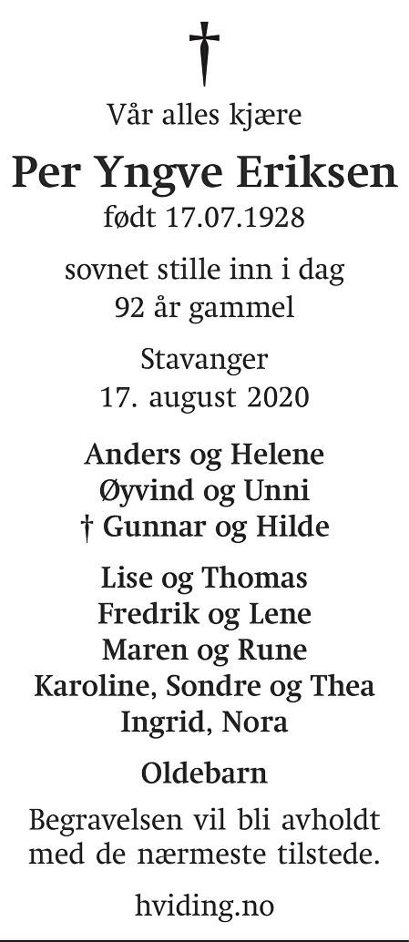 Per Yngve Eriksen Dødsannonse