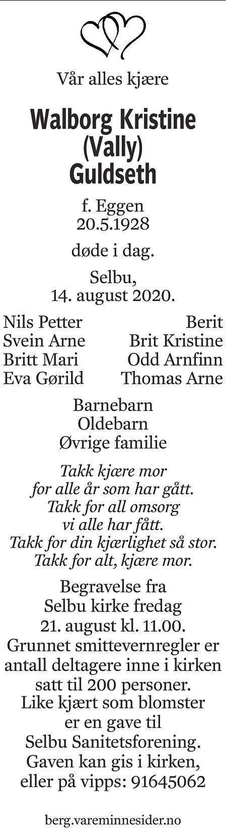 Walborg Kristine Guldseth Dødsannonse