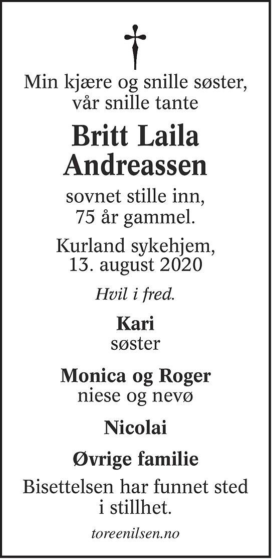 Britt Laila Andreassen Dødsannonse