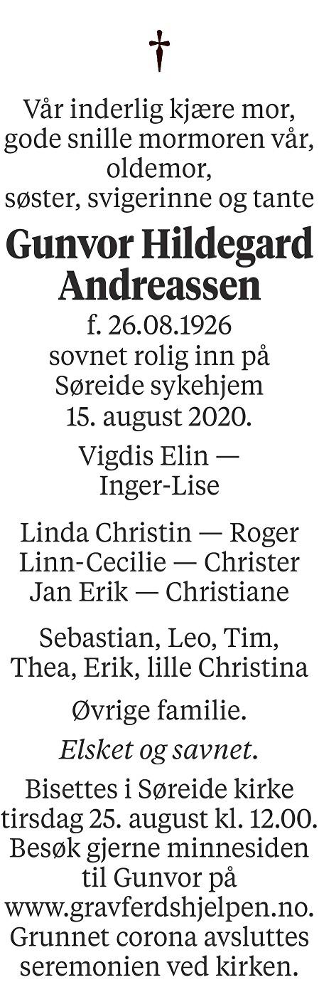 Gunvor Hildegard Andreassen Dødsannonse