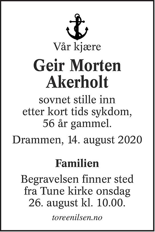 Geir Morten Akerholt Dødsannonse
