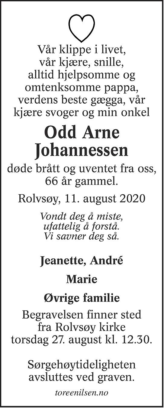 Odd Arne Johannessen Dødsannonse