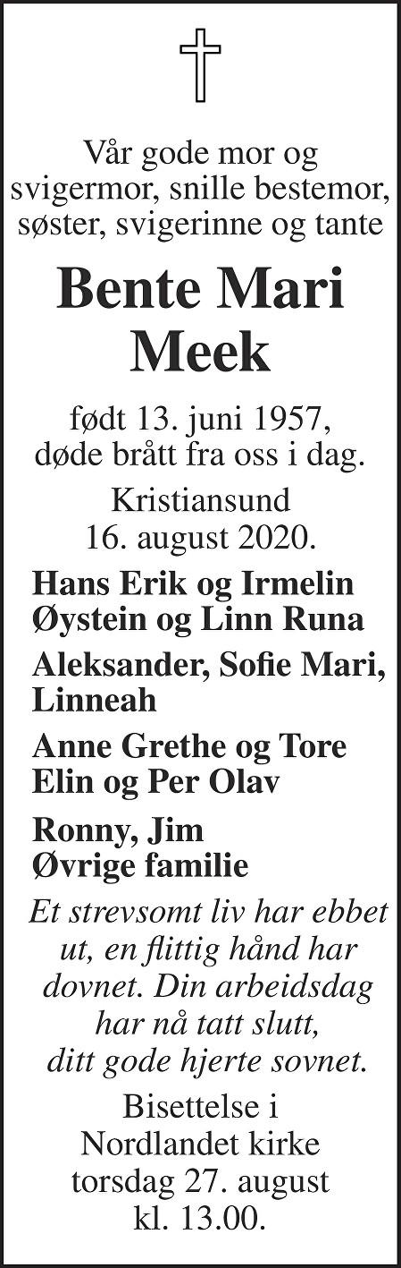 Bente Mari Meek Dødsannonse