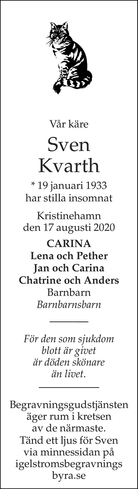 Sven Kvarth Death notice