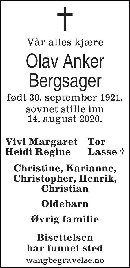 Olav Anker Bergsager Dødsannonse