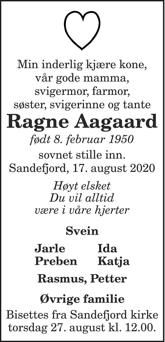 Ragne  Aagaard Dødsannonse