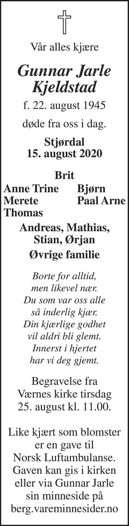 Gunnar Jarle Kjeldstad Dødsannonse