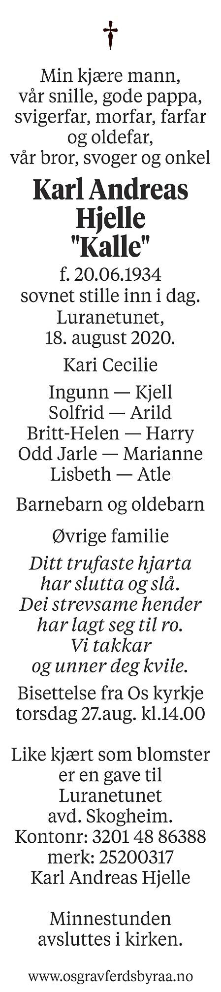 Karl Andreas Hjelle Dødsannonse