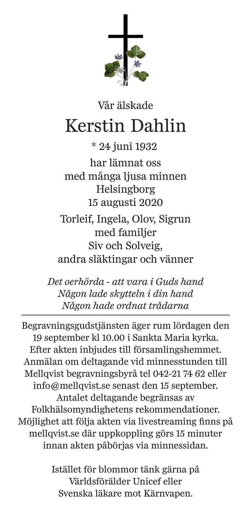 Kerstin Dahlin Death notice