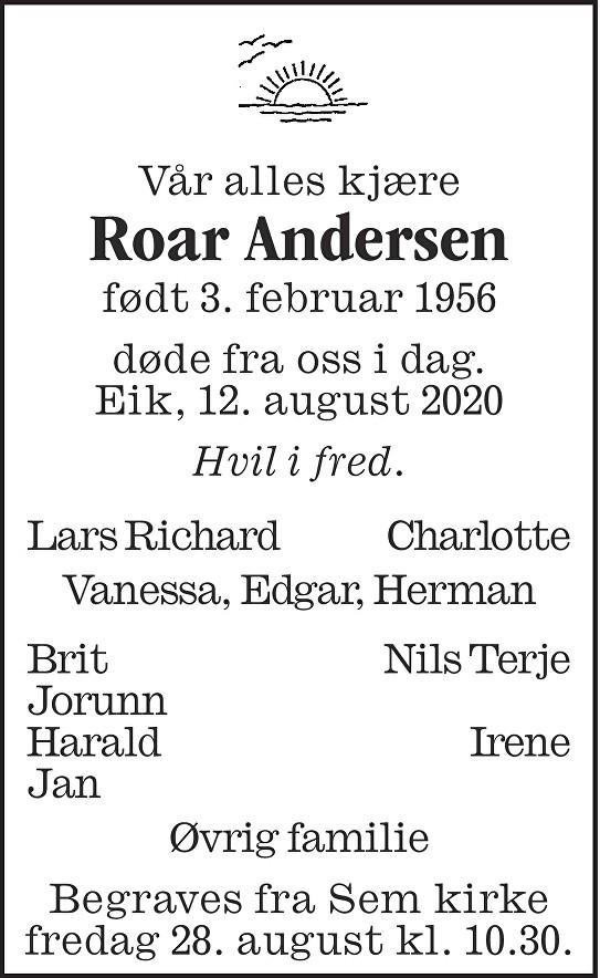 Roar Andersen Dødsannonse