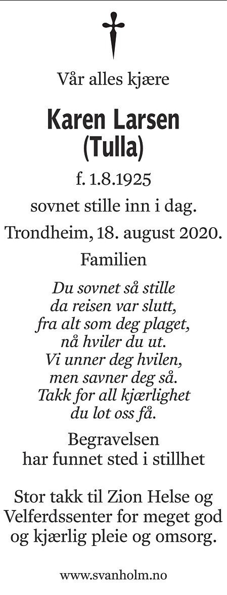 Karen Larsen Dødsannonse