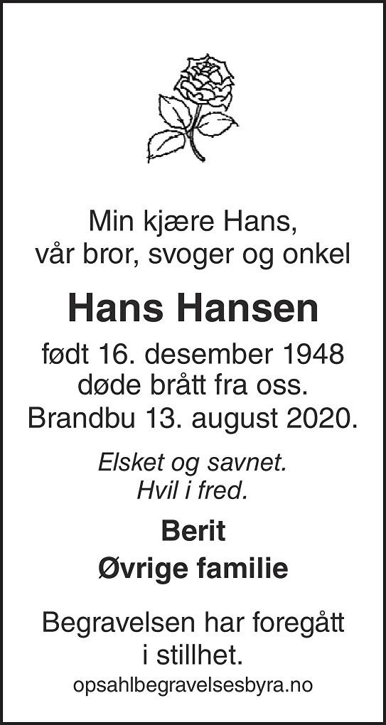 Hans Hansen Dødsannonse