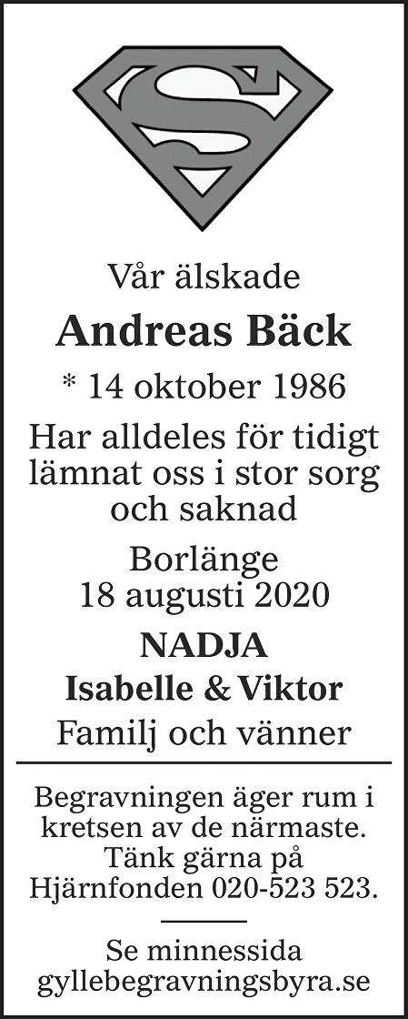 Andreas Bäck Death notice