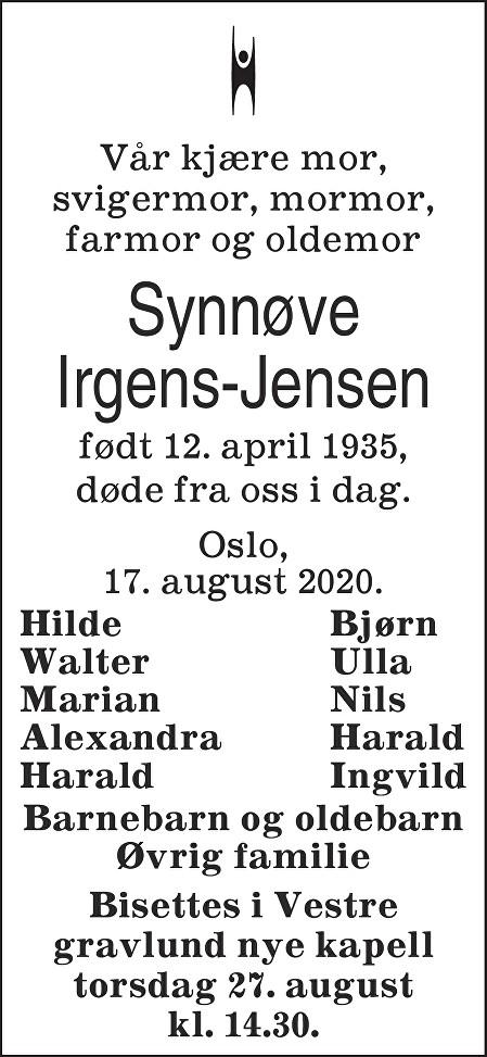 Synnøve Irgens-Jensen Dødsannonse