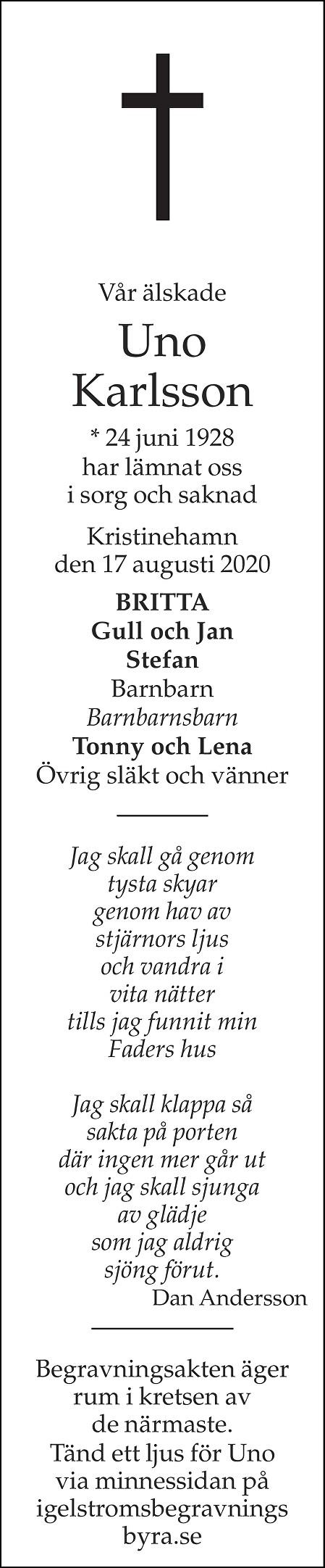 Uno Karlsson Death notice