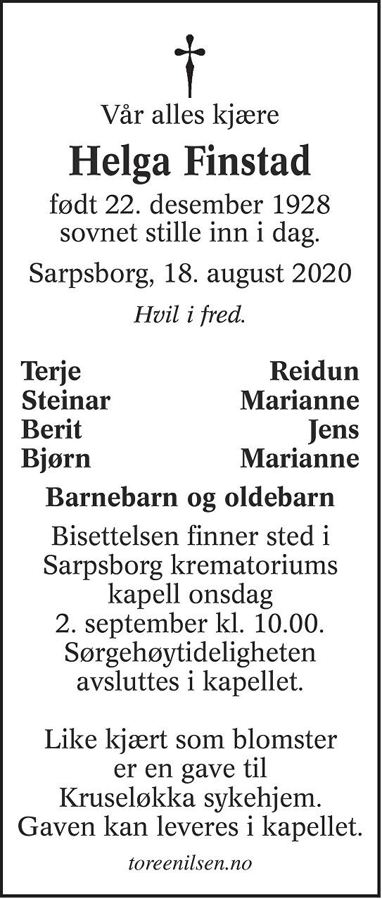Helga Sigfrida Finstad Dødsannonse