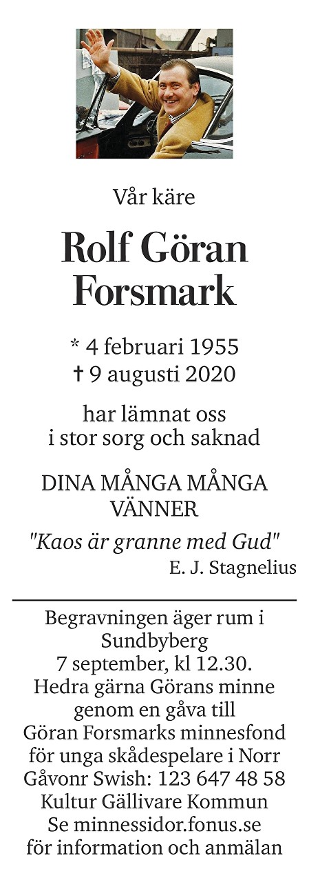 Rolf Göran Forsmark Death notice