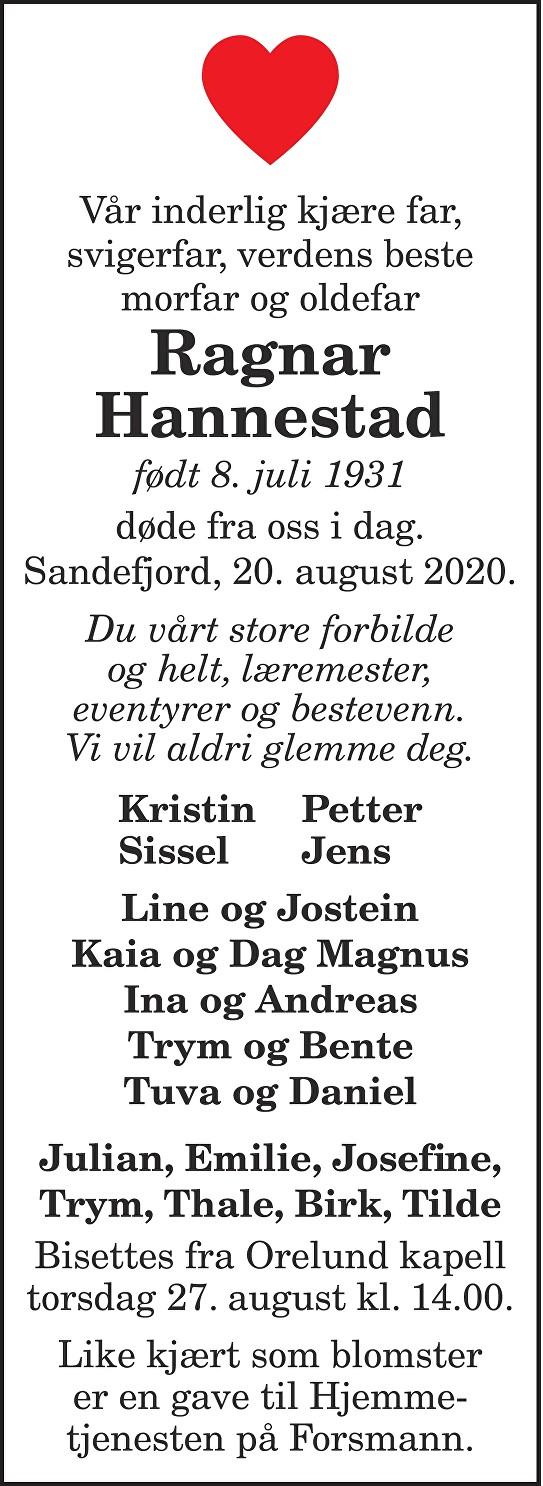 Ragnar Hannestad Dødsannonse