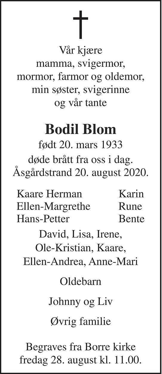 Bodil Blom Dødsannonse