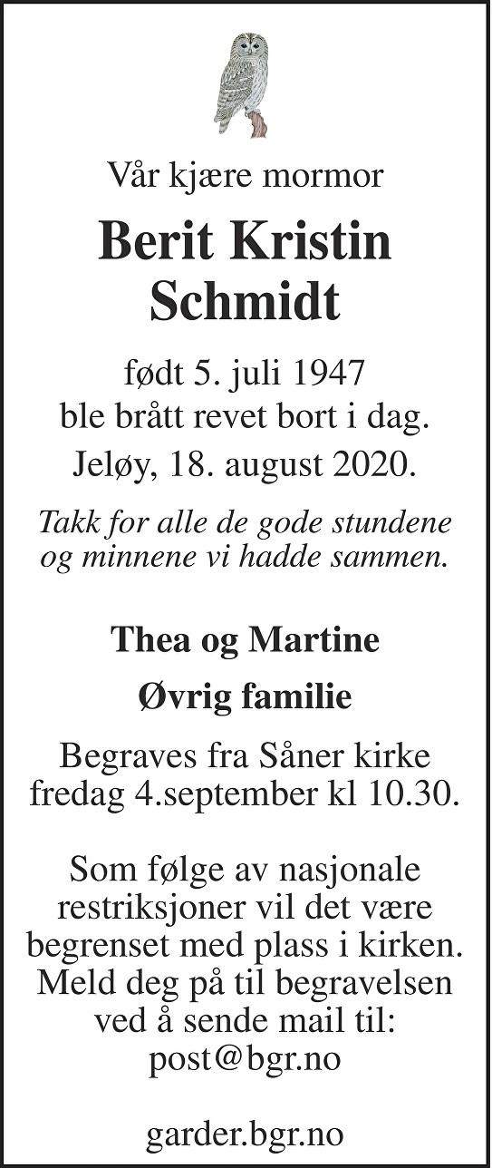 Berit Kristin Schmidt Dødsannonse
