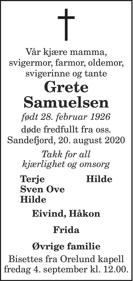 Grete Samuelsen Dødsannonse