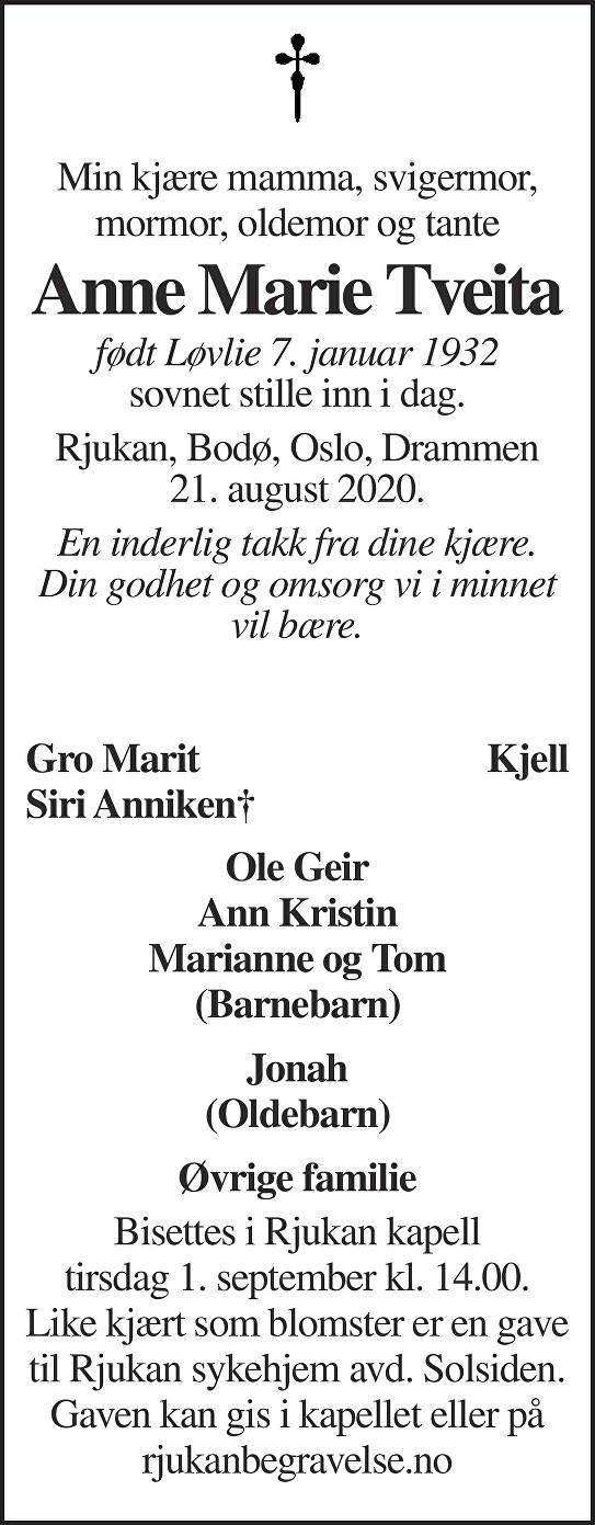 Anne Marie Tveita Dødsannonse