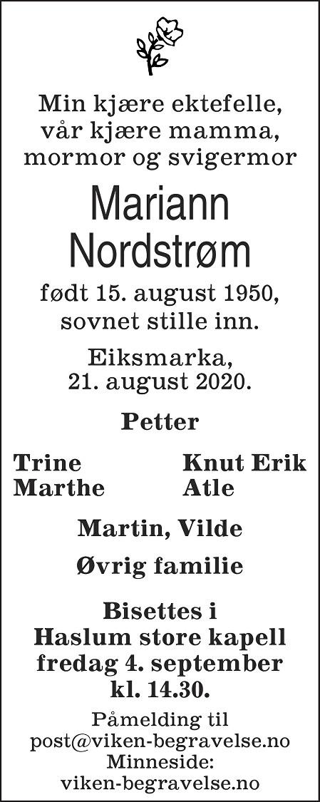 Mariann Kirsti Nordstrøm Dødsannonse