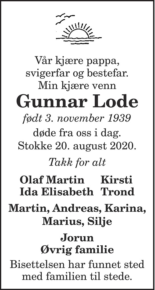 Gunnar Lode Dødsannonse