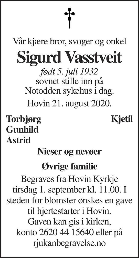 Sigurd Vasstveit Dødsannonse