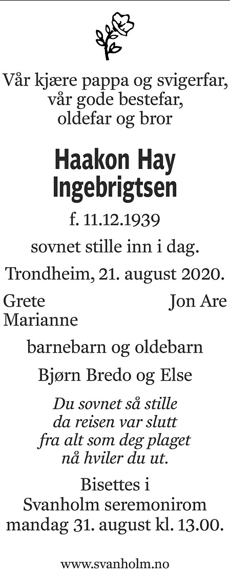 Haakon Hay Ingebrigtsen Dødsannonse