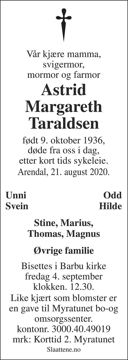 Astrid Margareth Taraldsen Dødsannonse