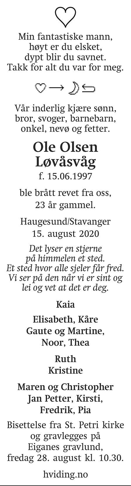 Ole Olsen Løvåsvåg Dødsannonse