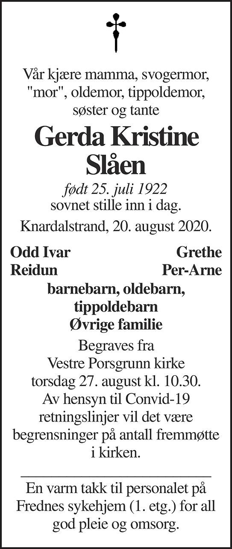 Gerda Kristine Slåen Dødsannonse