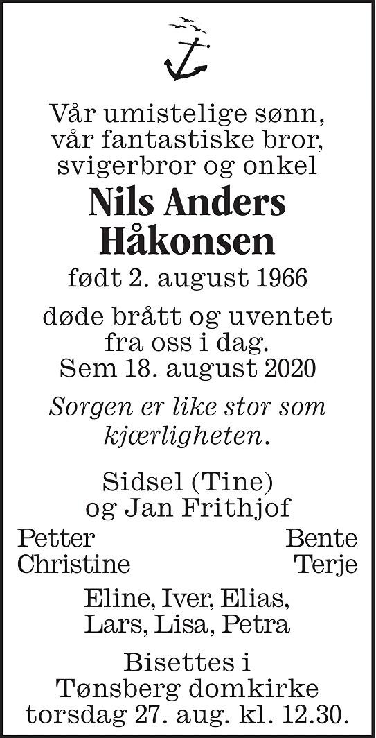 Nils Anders Håkonsen Dødsannonse