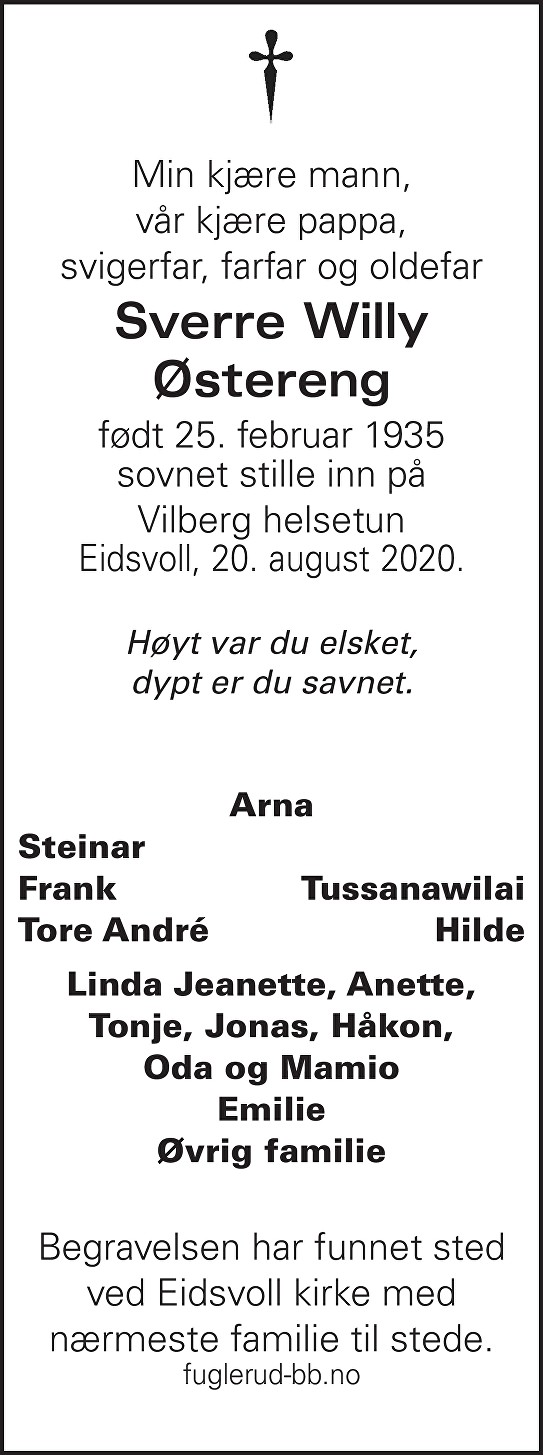 Sverre Willy Østereng Dødsannonse